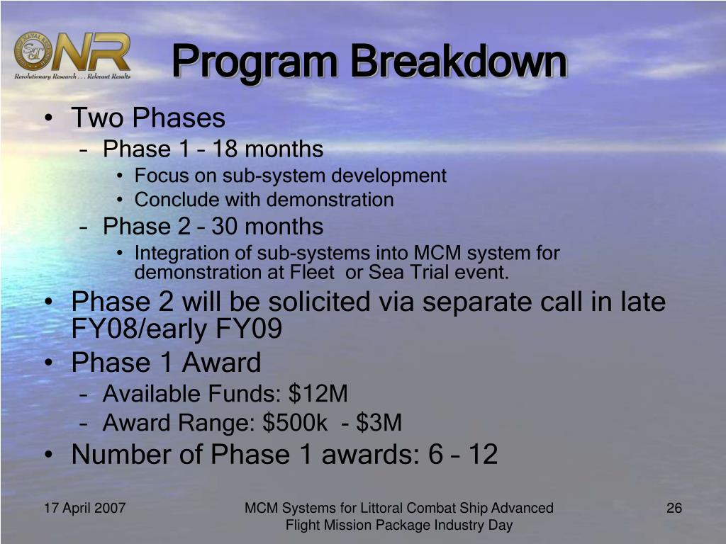 Program Breakdown