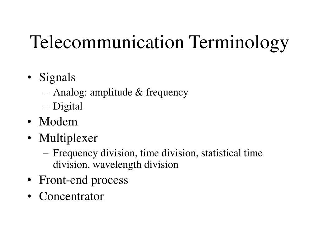 Telecommunication Terminology
