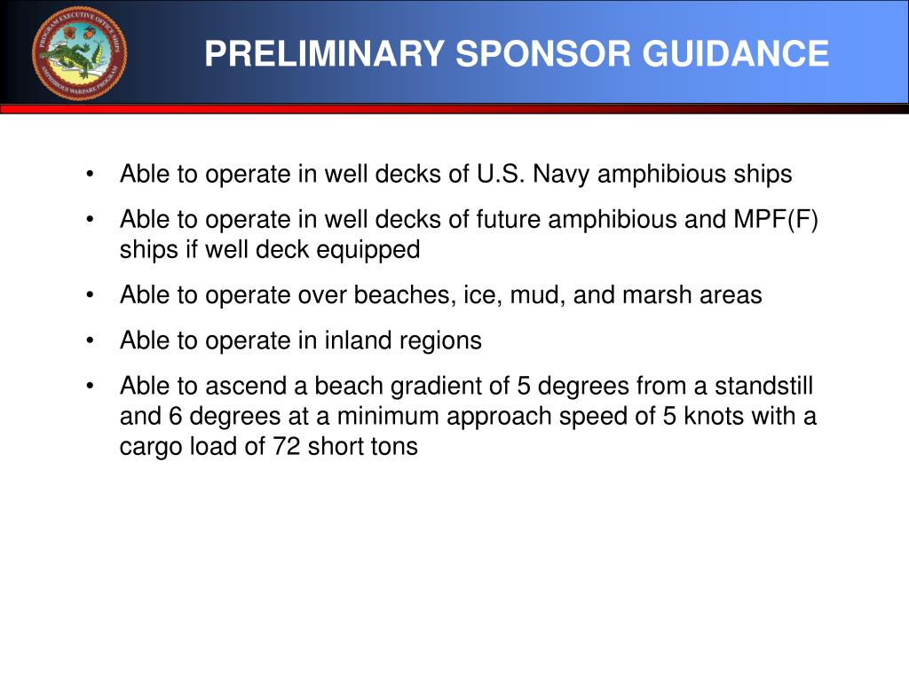 PRELIMINARY SPONSOR GUIDANCE