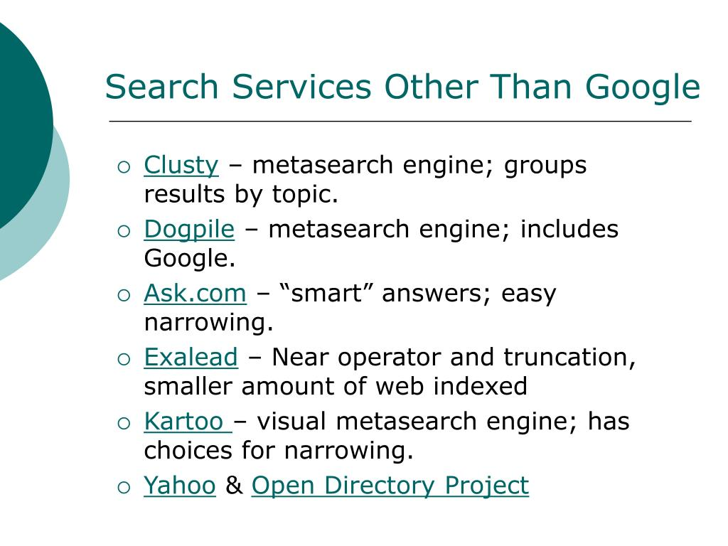 Search Services Other Than Google