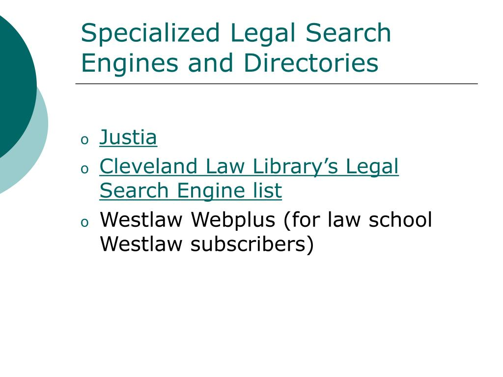 Specialized Legal Search Engines and Directories