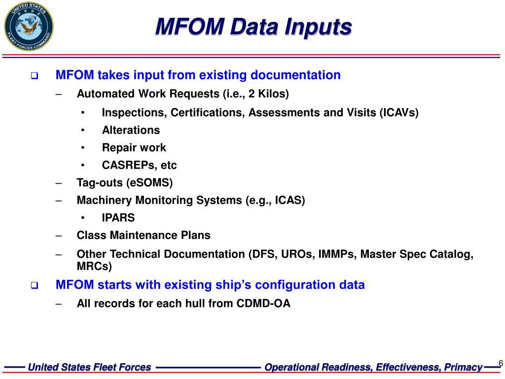 MFOM Data Inputs