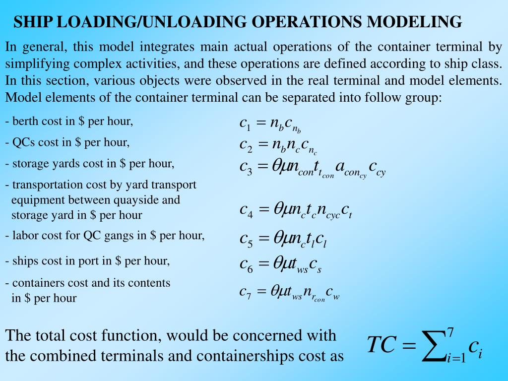 SHIP LOADING/UNLOADING OPERATIONS MODELING
