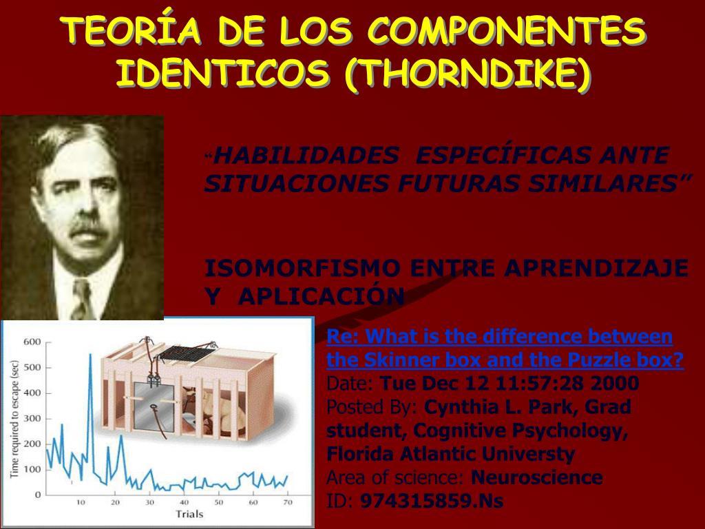 TEORÍA DE LOS COMPONENTES IDENTICOS (THORNDIKE)