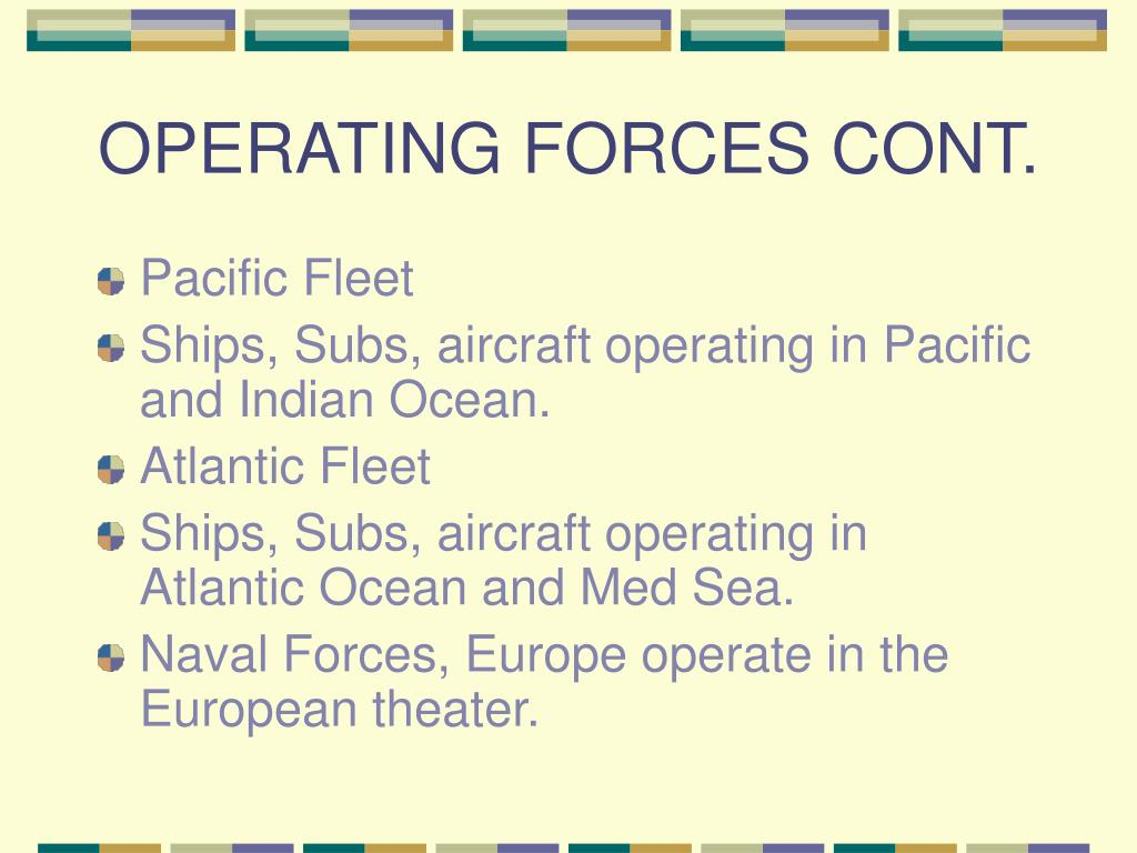 OPERATING FORCES CONT.