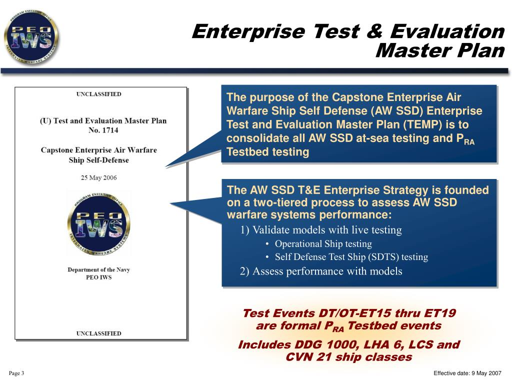 Enterprise Test & Evaluation Master Plan