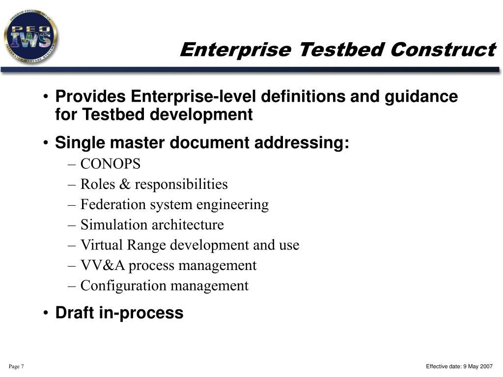 Enterprise Testbed Construct