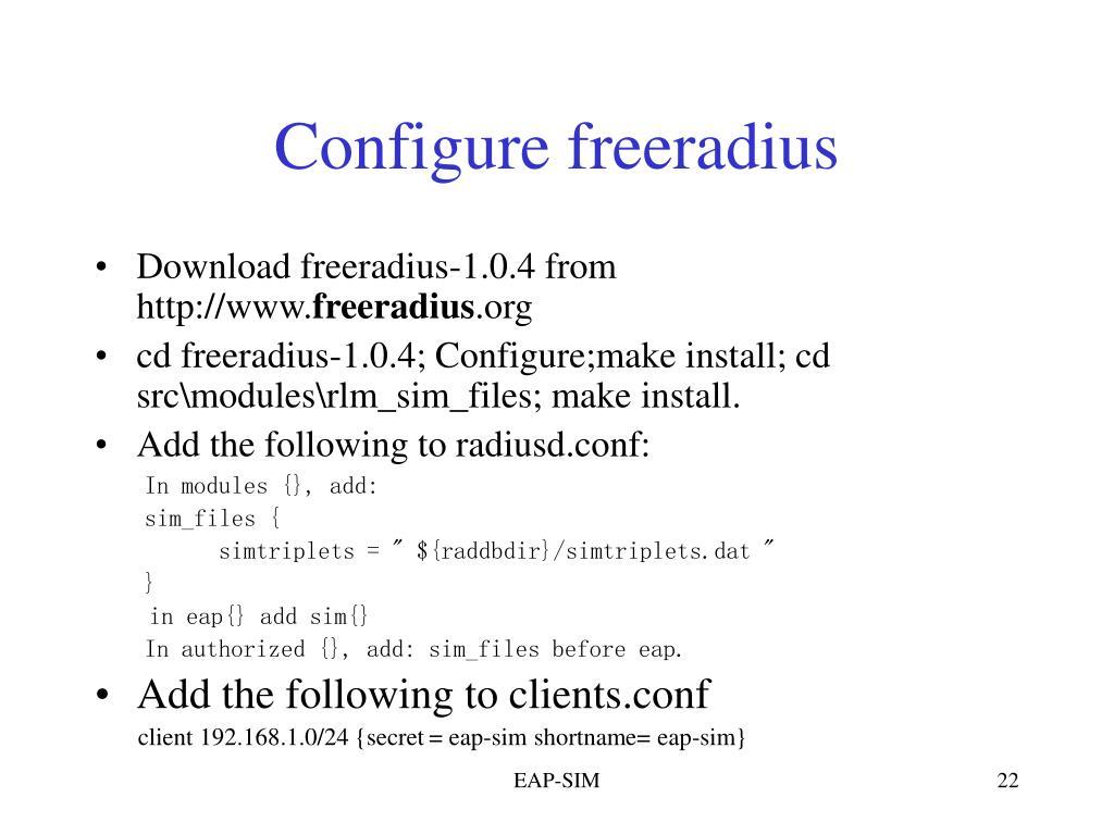 Configure freeradius