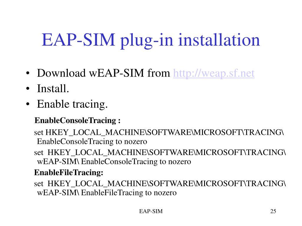 EAP-SIM plug-in installation
