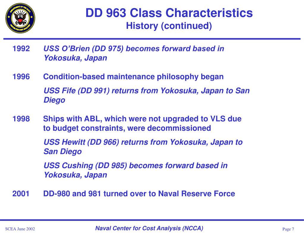 DD 963 Class Characteristics