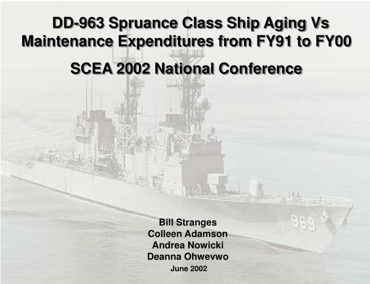 DD-963 Spruance Class Ship Aging Vs Maintenance Expenditures from FY91 to FY00