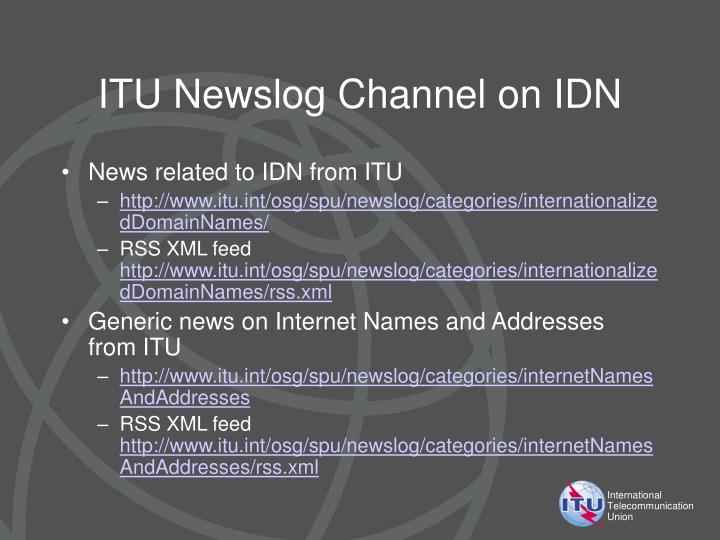 ITU Newslog Channel on IDN