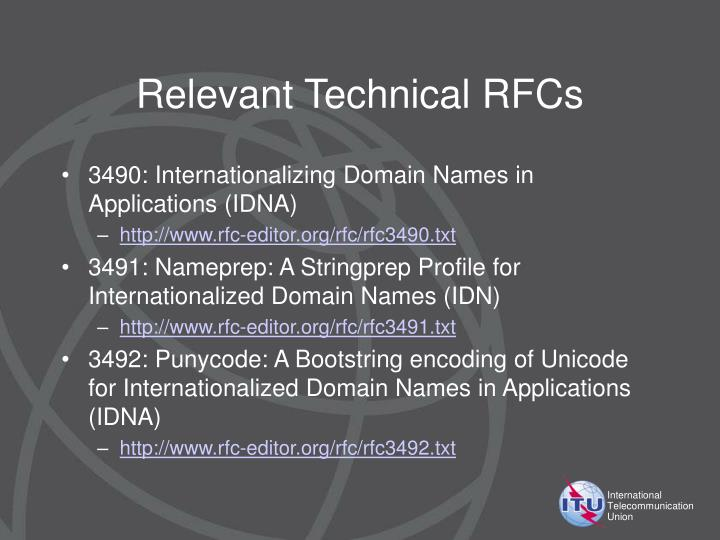 Relevant Technical RFCs