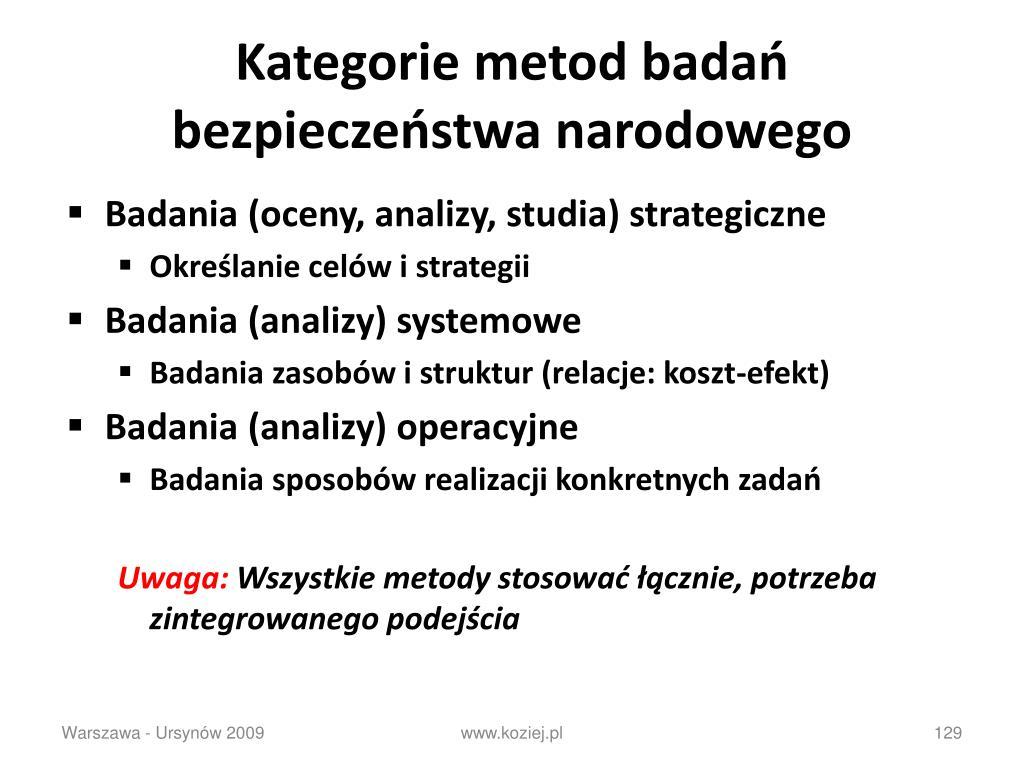 Kategorie metod badań bezpieczeństwa narodowego