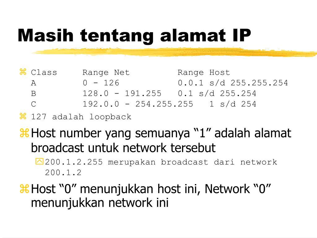 Masih tentang alamat IP