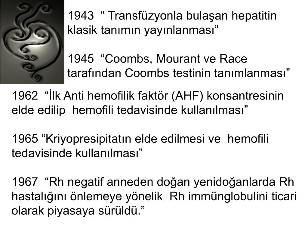 """1943  """" Transfüzyonla bulaşan hepatitin klasik tanımın yayınlanması"""""""