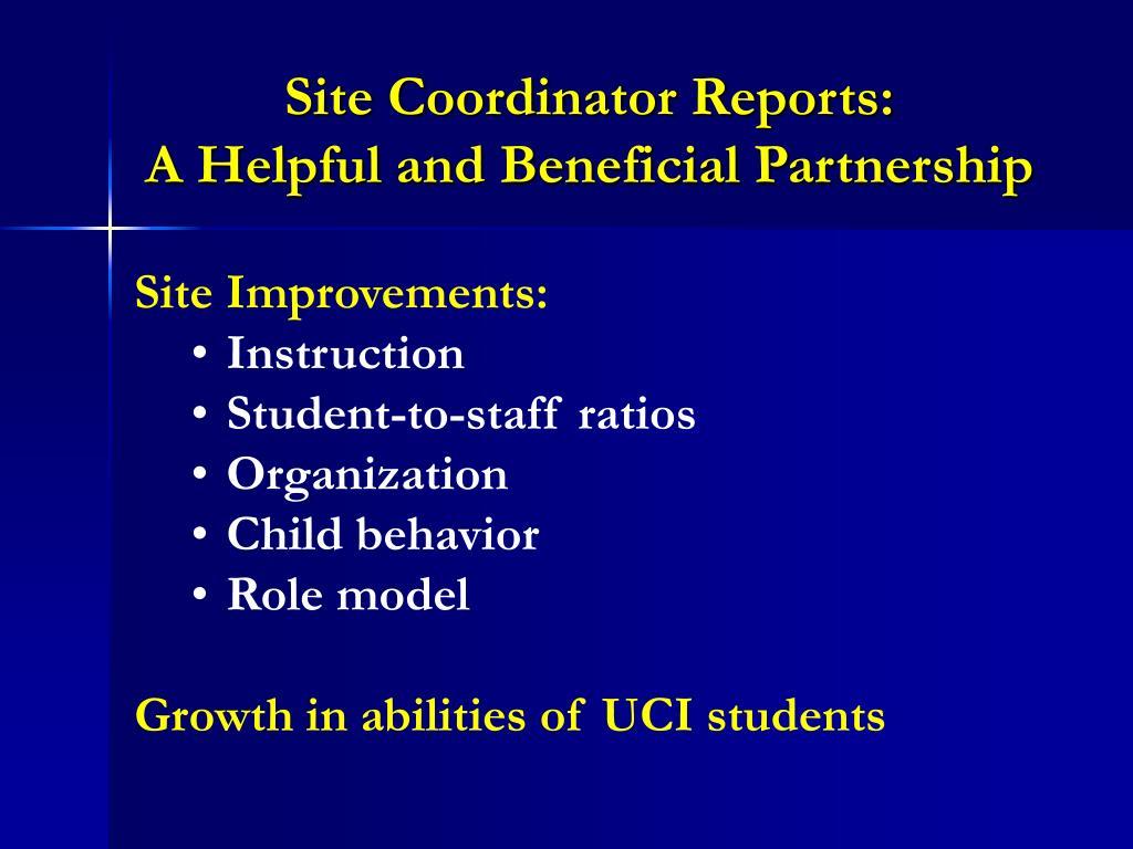 Site Coordinator Reports: