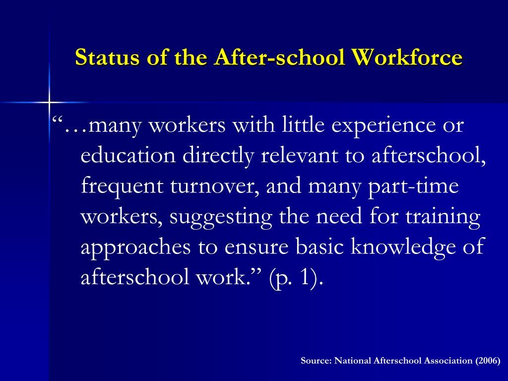 Status of the After-school Workforce