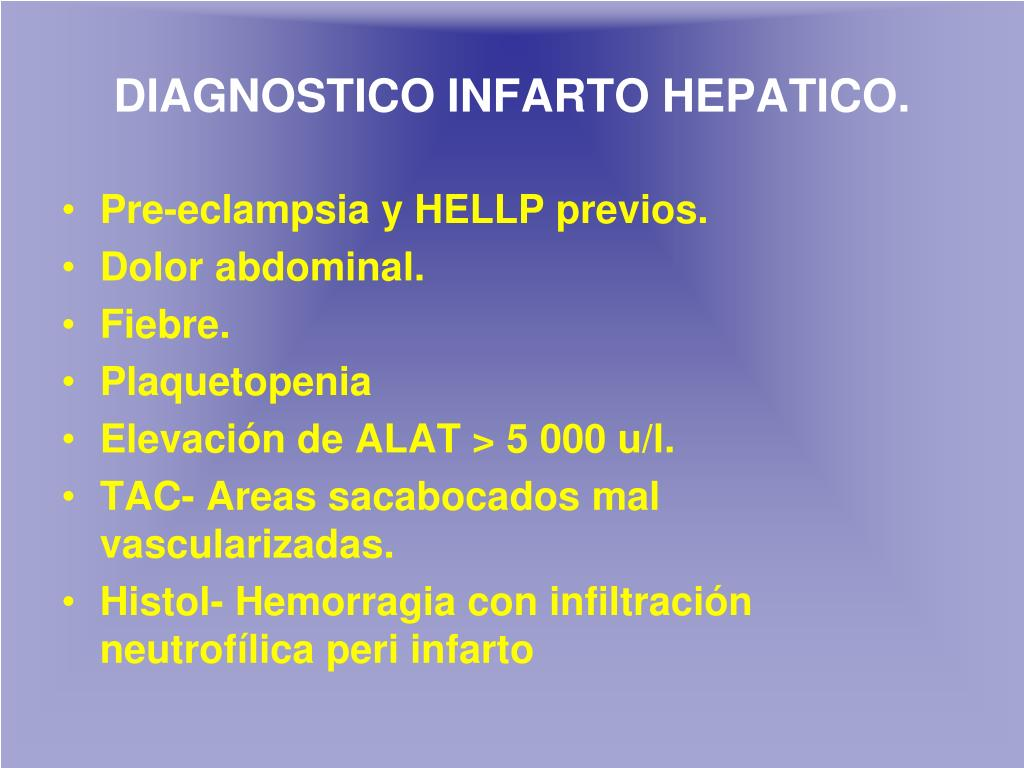 DIAGNOSTICO INFARTO HEPATICO