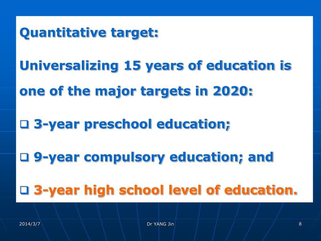 Quantitative target: