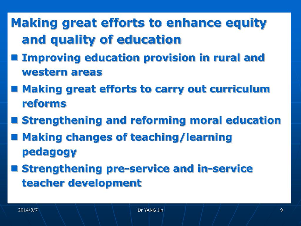 Making great efforts to enhance equity and quality of education