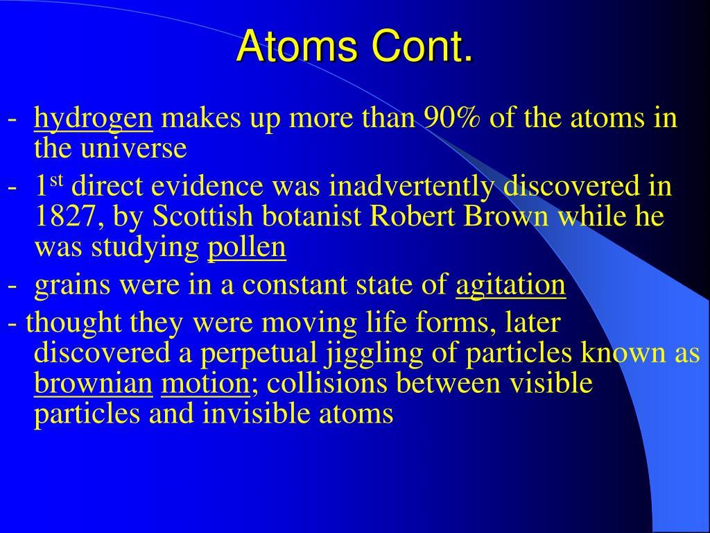 Atoms Cont.