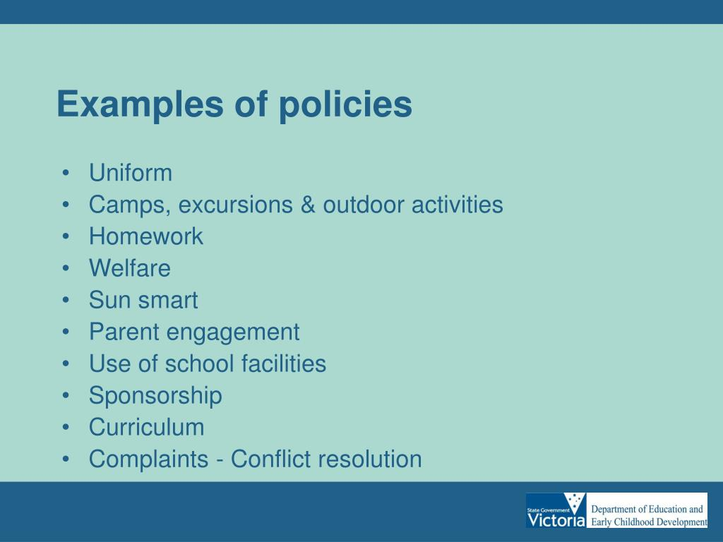 Examples of policies