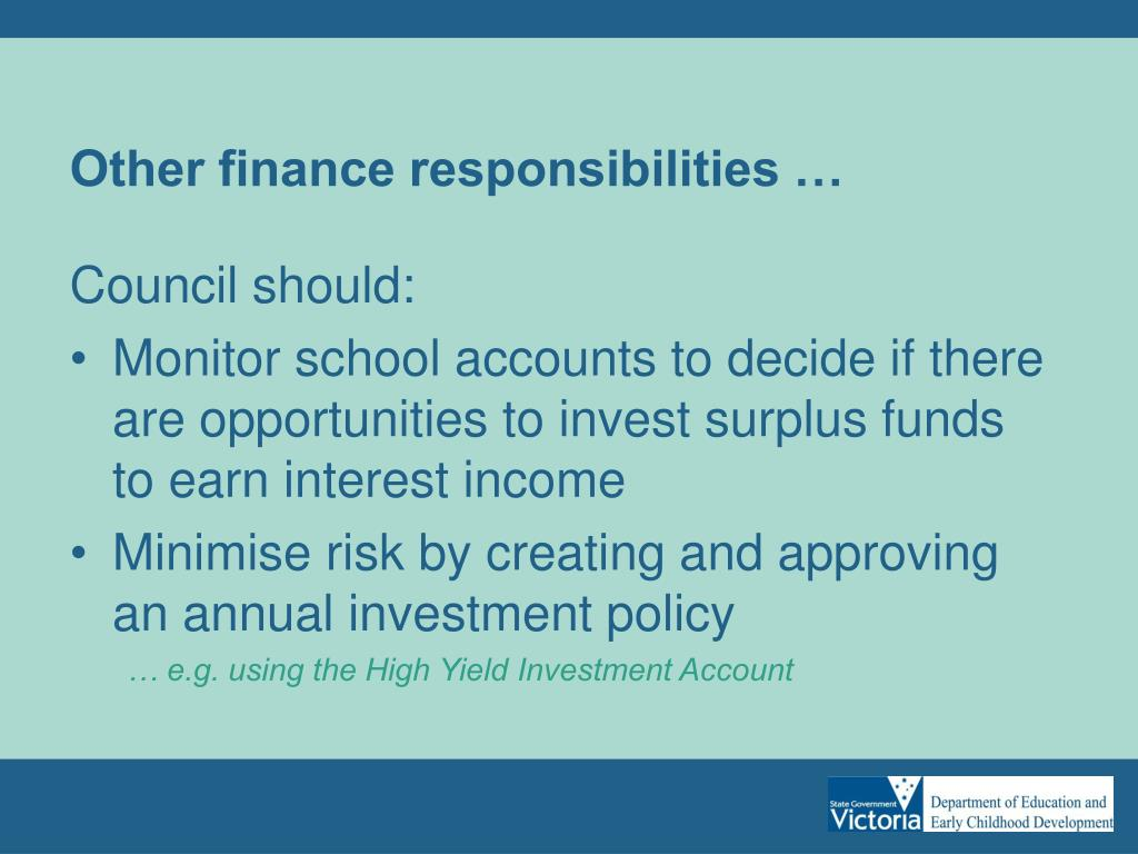 Other finance responsibilities …
