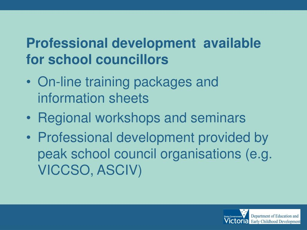 Professional development  available for school councillors