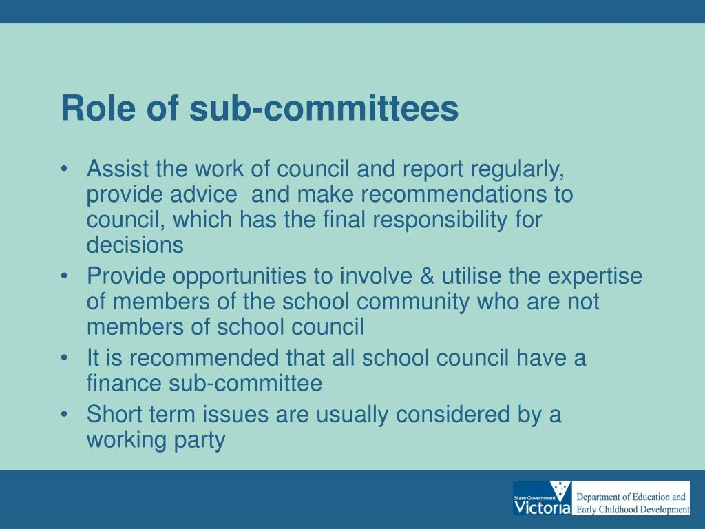 Role of sub-committees
