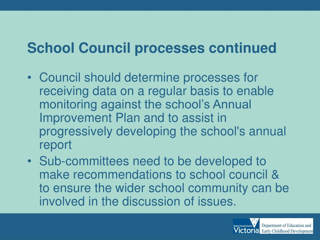School Council processes continued