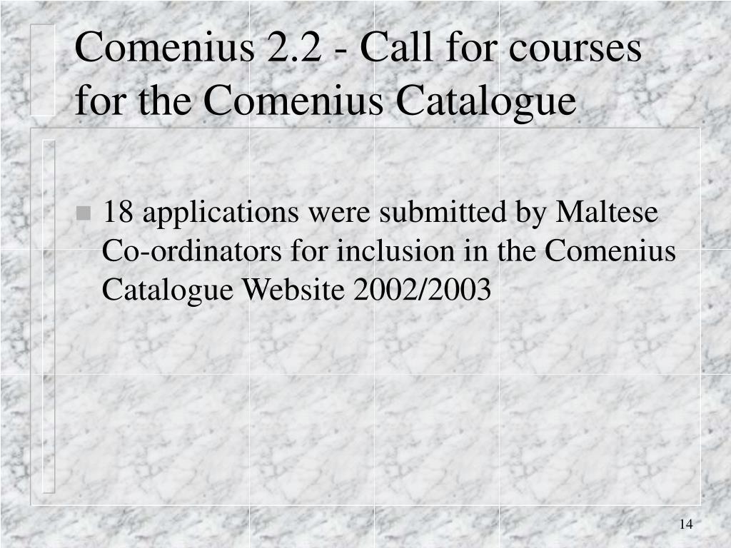 Comenius 2.2 - Call for courses for the Comenius Catalogue