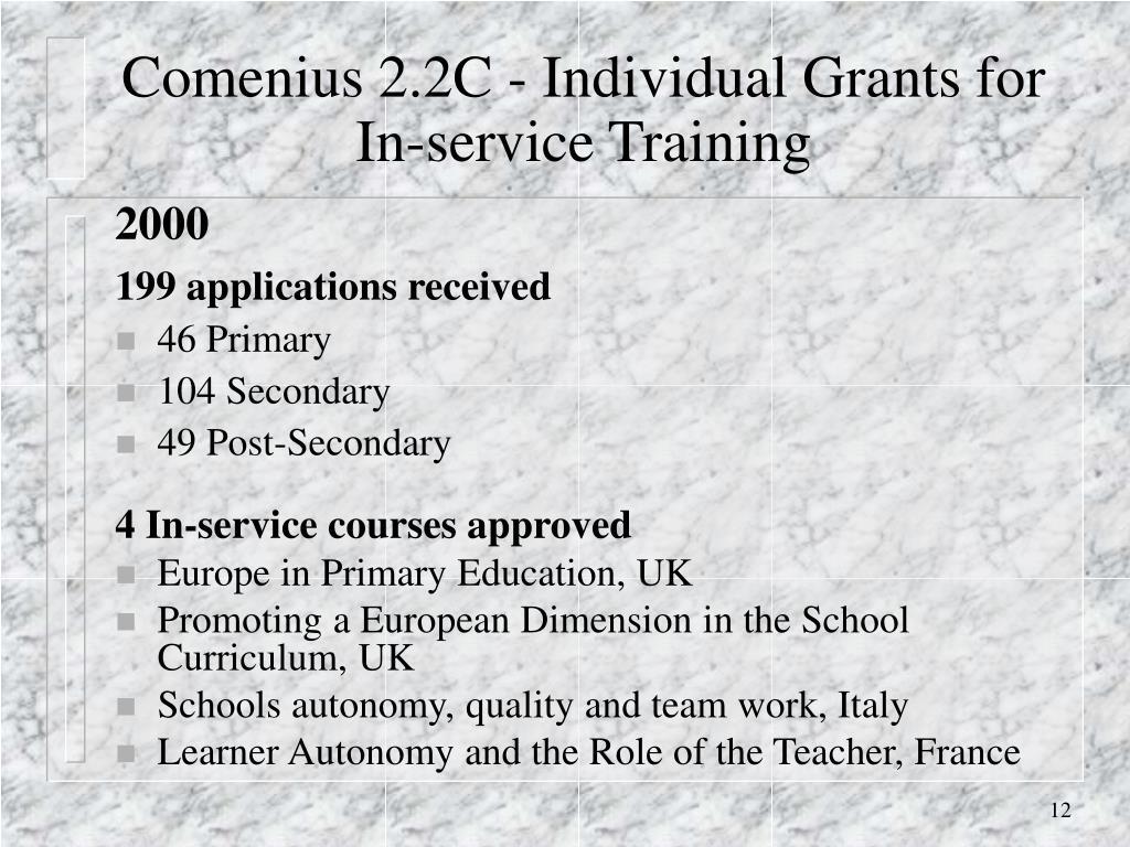 Comenius 2.2C - Individual Grants for In-service Training