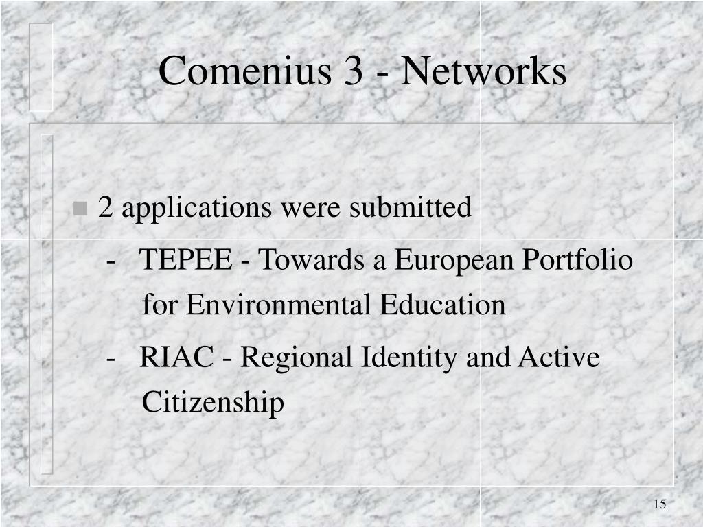 Comenius 3 - Networks