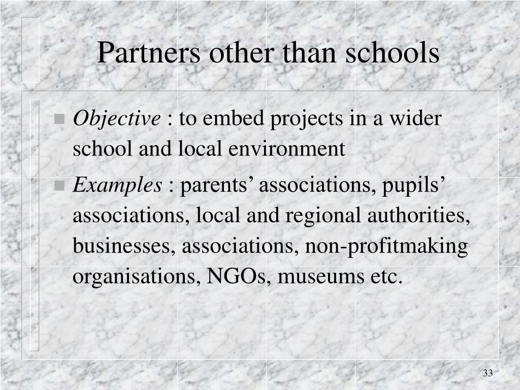 Partners other than schools