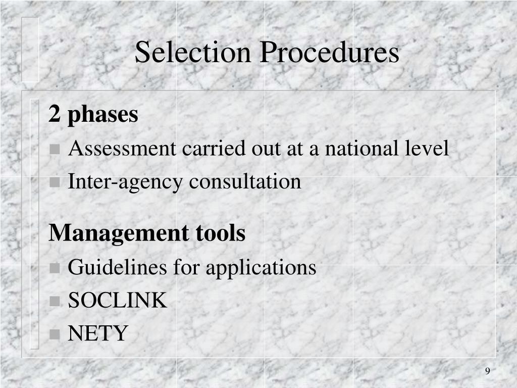 Selection Procedures