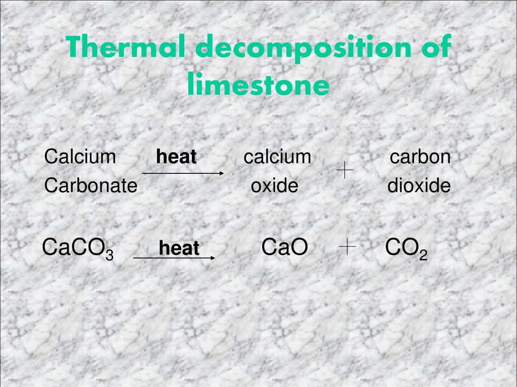 Thermal decomposition of limestone