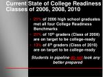 current state of college readiness classes of 2006 2008 2010