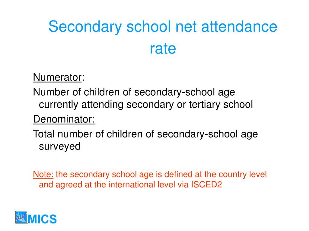 Secondary school net attendance rate