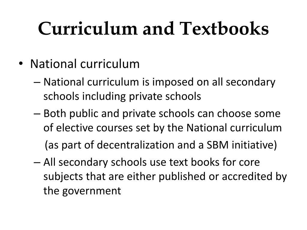 Curriculum and Textbooks