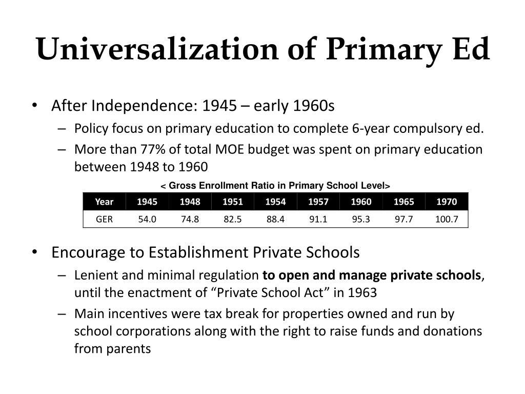 Universalization of Primary Ed