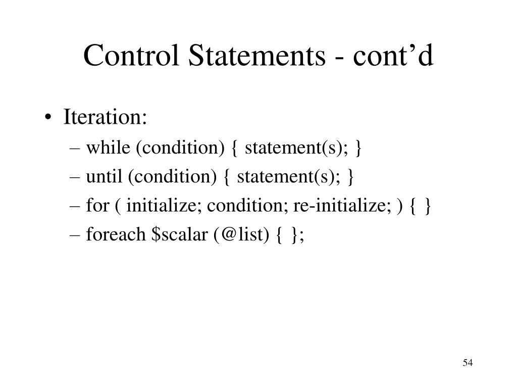 Control Statements - cont'd