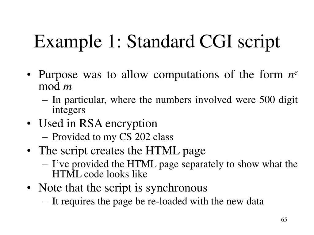 Example 1: Standard CGI script