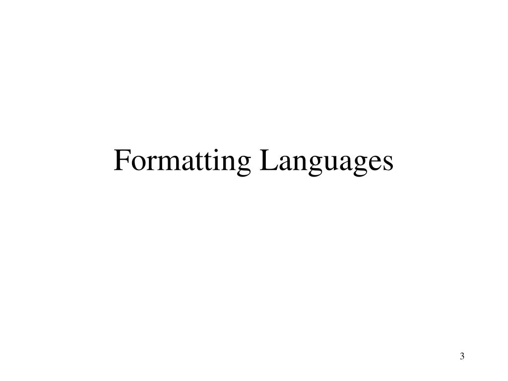 Formatting Languages