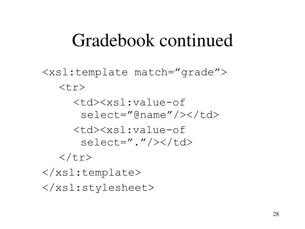 Gradebook continued