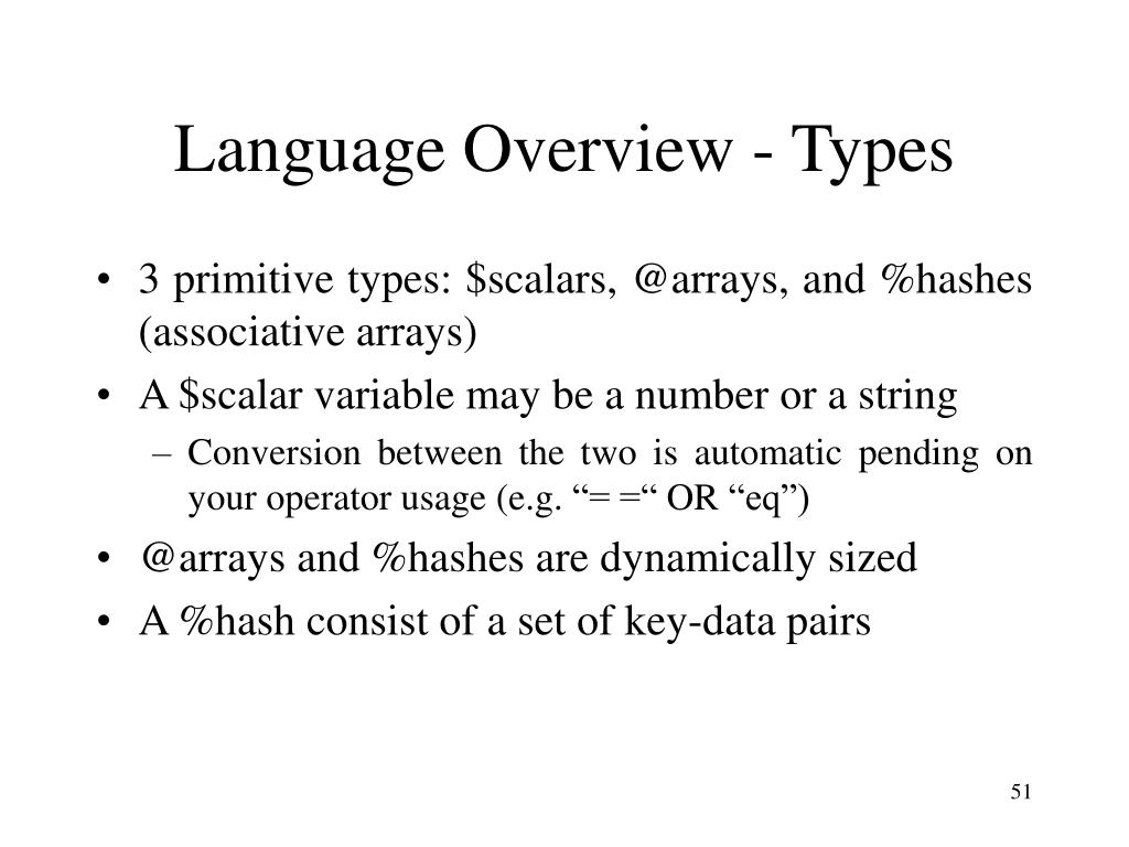Language Overview - Types