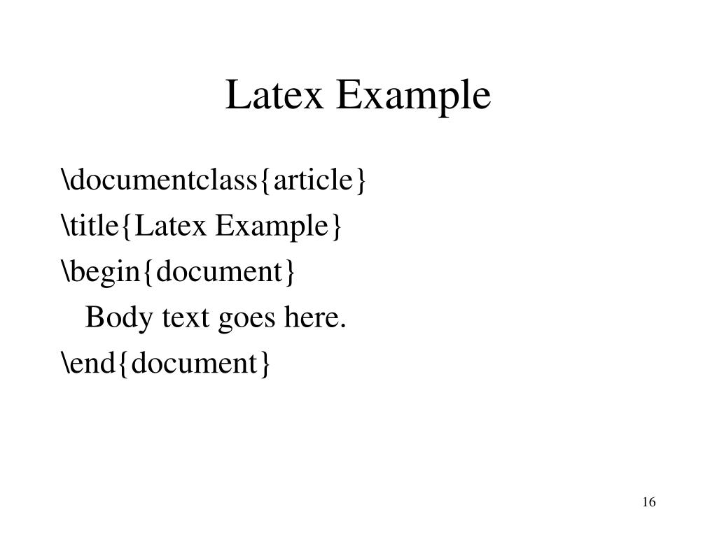 Latex Example
