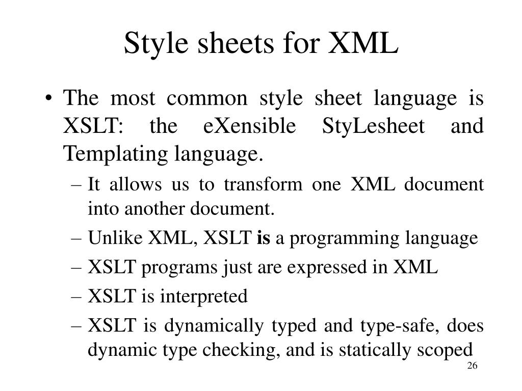 Style sheets for XML
