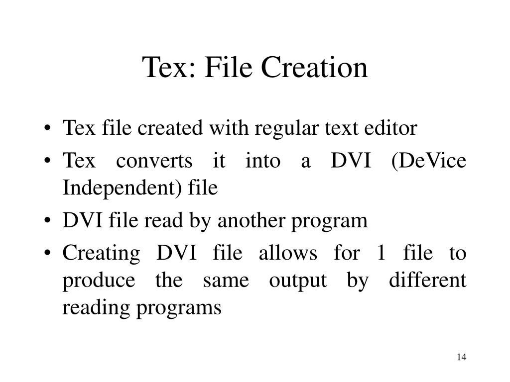 Tex: File Creation