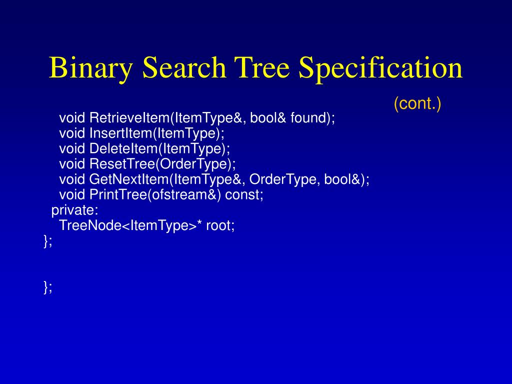 Binary Search Tree Specification